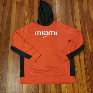 University of Miami Nike Thermafit Orange Pullover